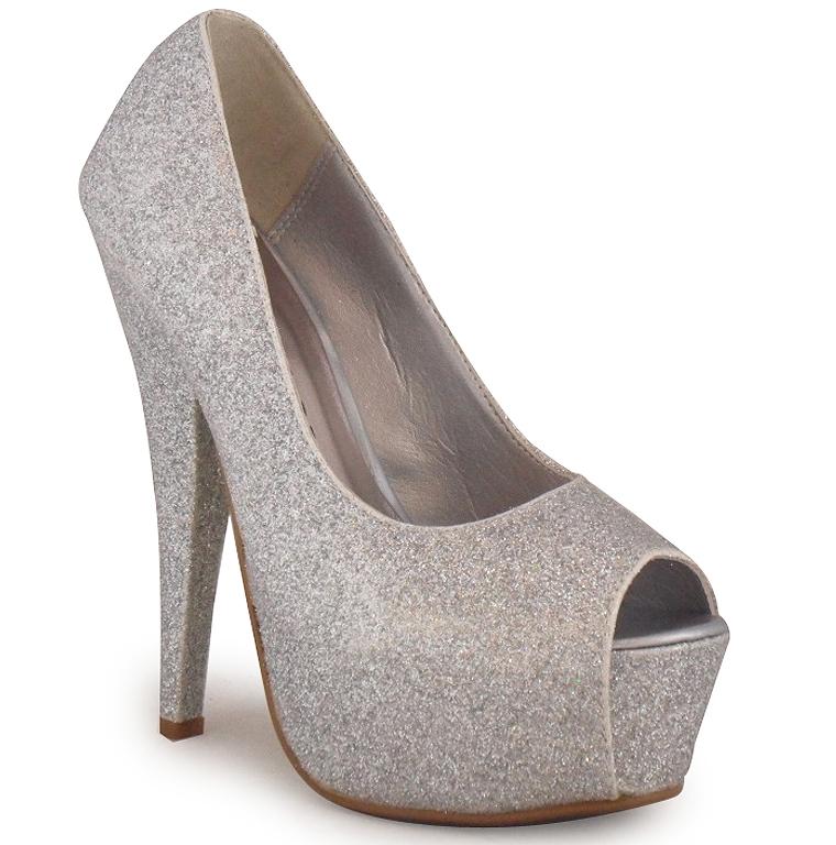 new womens silver peeptoe platform stiletto glitter